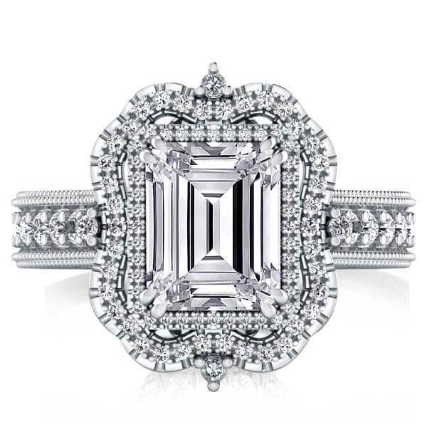 Vintage Milgrain Halo Emerald Engagement Ring(4.15 CT. TW.), White