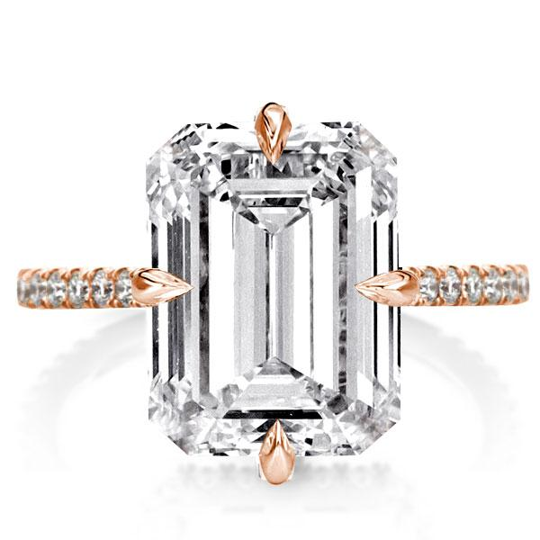 Rose Gold Emerald Engagement Ring(6.15 CT. TW.), White