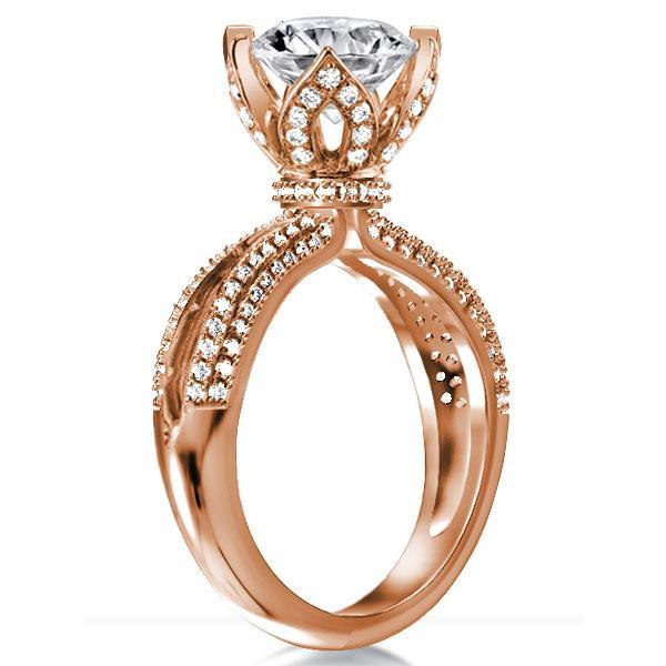 Rose Gold Lotus Champagne Engagement Ring(3.35 CT. TW.), White