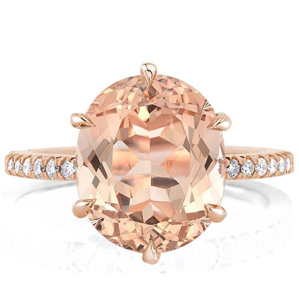 Six Prong Rose Gold Oval Champagne Engagement Ring(3.65 CT.TW), White