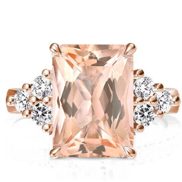 Rose Gold Radiant Champagne Engagement Ring(4.95 CT. TW.), White