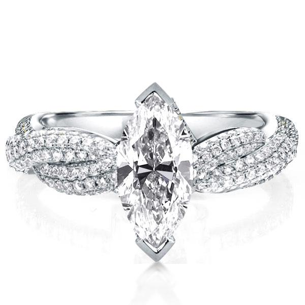 Twist Shank Marquise Engagement Ring(3.75 CT.TW), White
