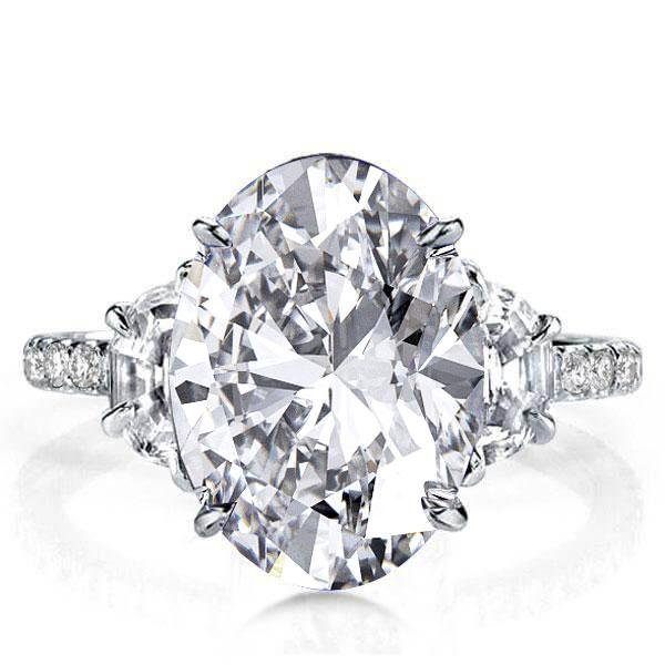 Oval Three Stone Engagement Ring(7.65 CT. TW.), White
