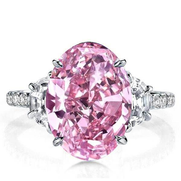Oval Three Stone Pink Engagement Ring(7.65 CT. TW.), White