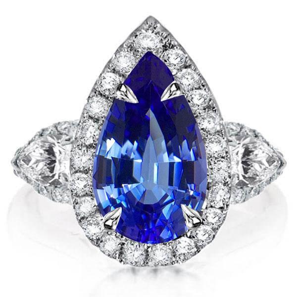 Italo Pear Halo Three Stone Created Sapphire Engagement Ring, White