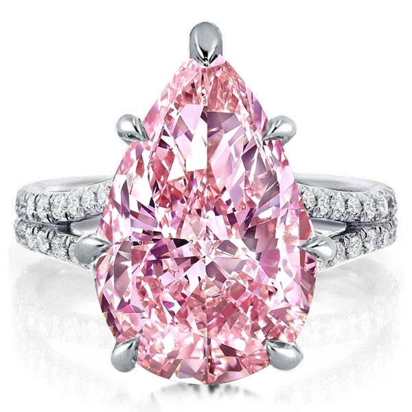 Split Pear Created Pink Sapphire Engagement Ring, White