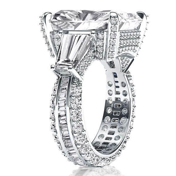 Italo Three Stone Radiant Engagement Ring(10.55 CT. TW.), White
