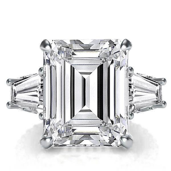 Three Stone Emerald Engagement Ring(10.55 CT. TW.), White