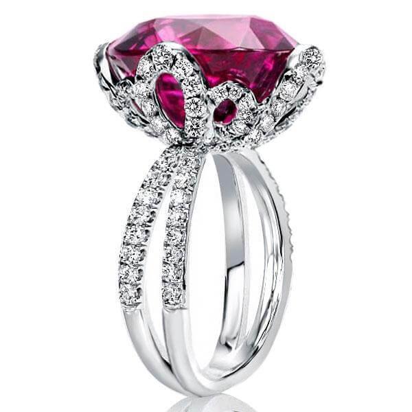 Flower Design Oval Garnet Engagement Ring (13.15 CT. TW.), White
