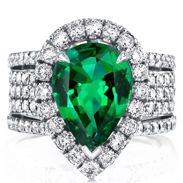 Multi-row Halo Pear Emerald Engagement Ring(7.95 CT. TW.), White