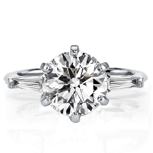 Three Stone Created White Sapphire Engagement Ring(3.85 CT. TW.)