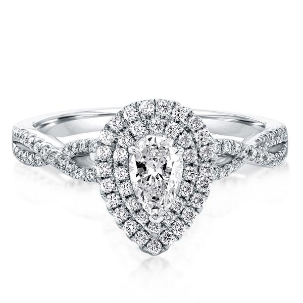 Twist Shank Halo Pear Engagement Ring(1.55 CT. TW.), White