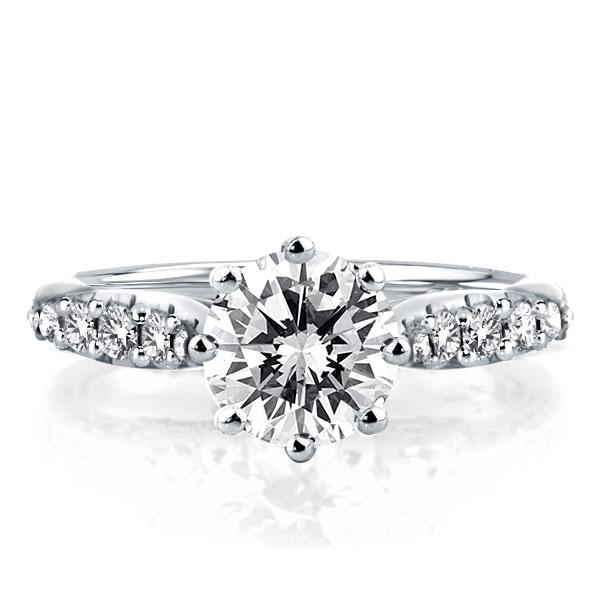 Classic Six-prong Round Engagement Ring(3.15 CT. TW.), White