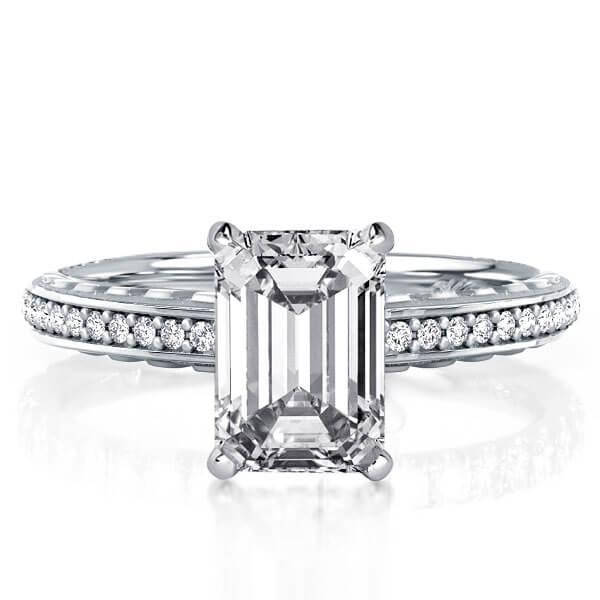 Sculpture Design Emerald Engagement Ring(2.86 CT. TW.), White