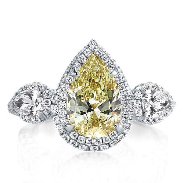 Three Stone Halo Pear Topaz Engagement Ring(3.95 CT. TW.), White