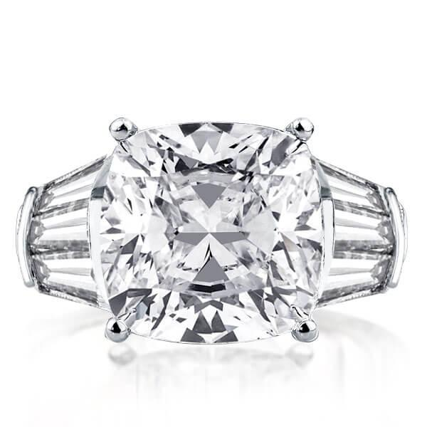 Solitaire Triple Row Cushion Engagement Ring(5.50 CT. TW.), White