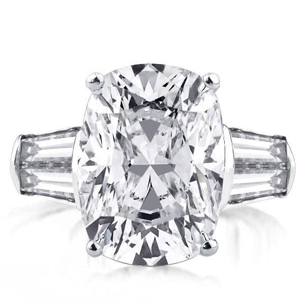 Three Stone Cushion Engagement Ring(14.55 CT. TW.), White