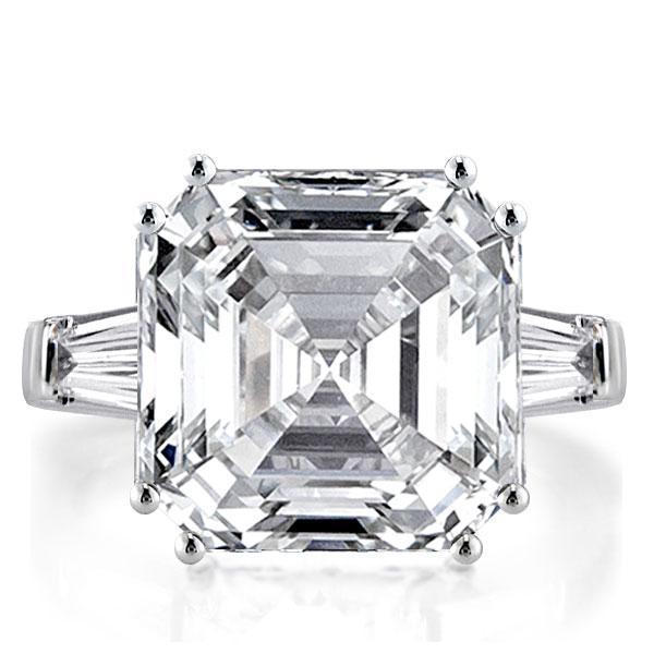 Three Stone Asscher Engagement Ring(8.45 CT. TW.), White