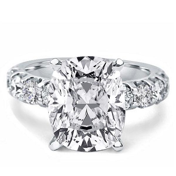 Cushion Created White Sapphire Engagement Ring(4.65 CT. TW.)