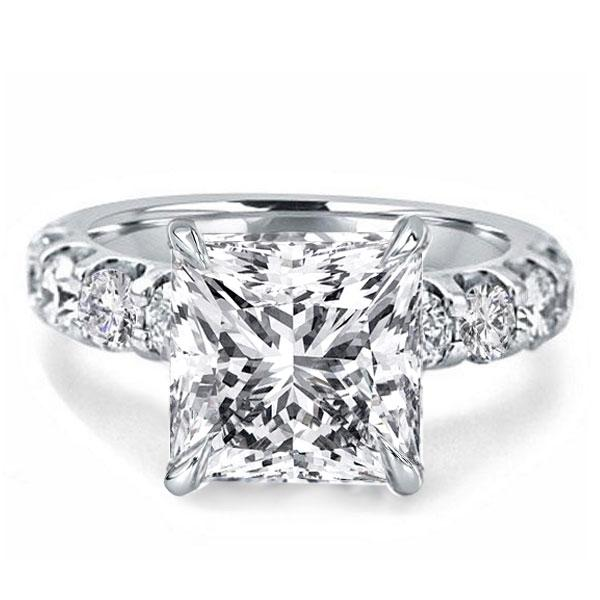 Princess Created White Sapphire Engagement Ring(4.65 CT. TW.)