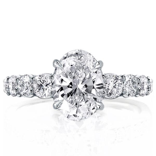 Unique Oval Created White Sapphire Engagement Ring(4.35 CT. TW.)