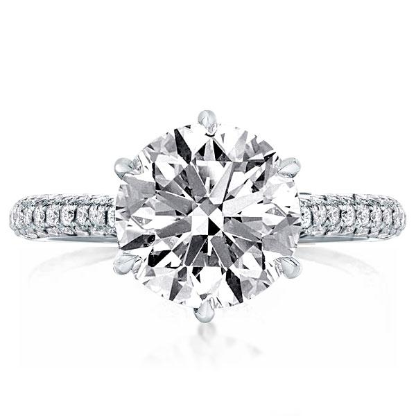Micro Pave Round Engagement Ring(3.95 CT. TW.), White