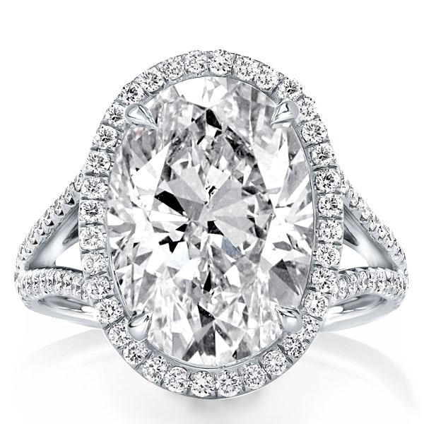 Split Shank Halo Oval Engagement Ring(9.65 CT. TW.), White