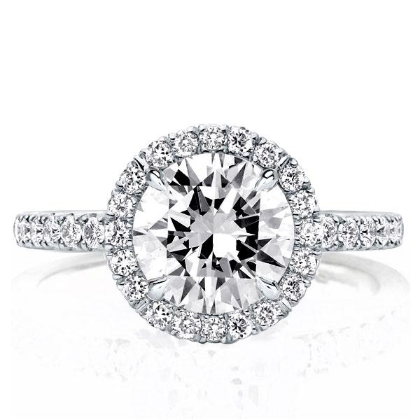 Halo Round Created White Sapphire Engagement Ring(2.95 CT. TW.)