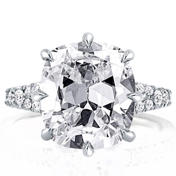 Split Shank Cushion Engagement Ring(5.35 CT. TW.), White