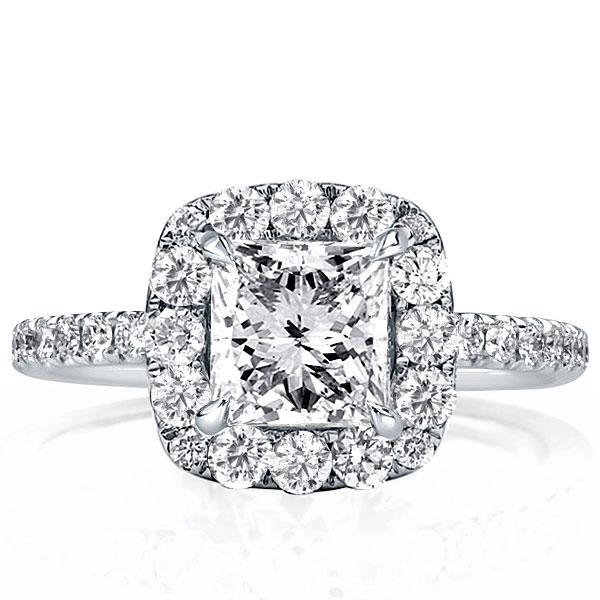 Halo Princess Engagement Ring(2.35 CT. TW.), White