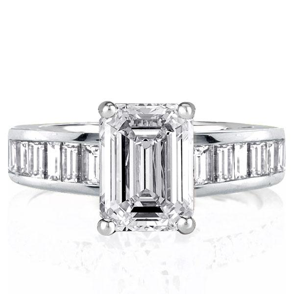 Emerald Created White Sapphire Engagement Ring(3.65 CT. TW.)