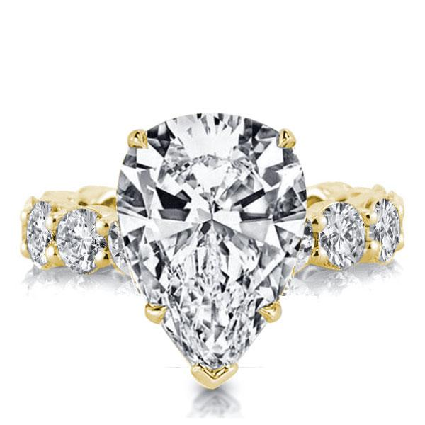 Golden Pear Eternity Created White Sapphire Engagement Ring