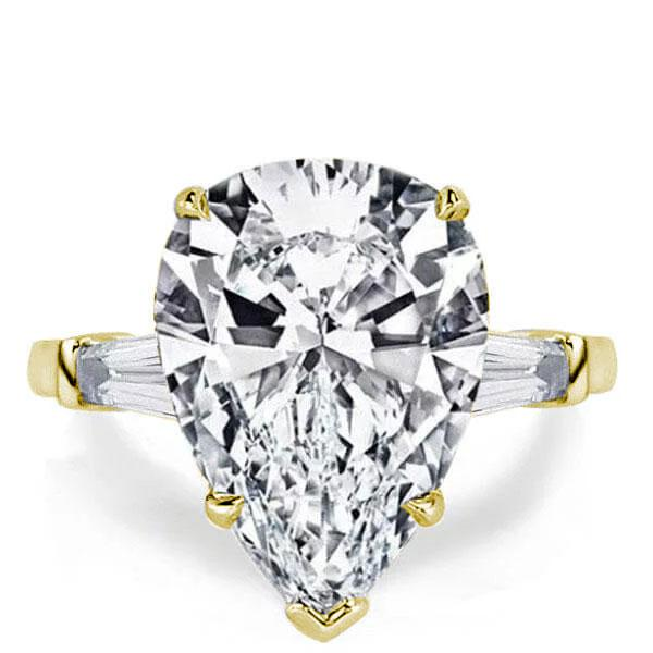 Golden Three Stone Pear Created White Sapphire Engagement Ring