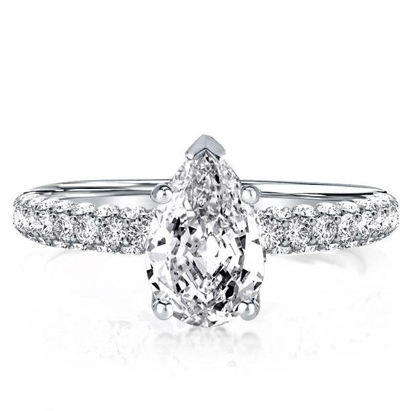 Unique Pear Cut Engagement Ring, White