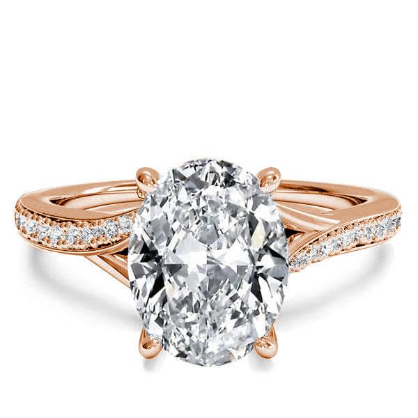 Rose Gold Bypass Oval Created White Sapphire Engagement Ring