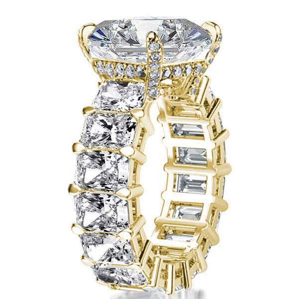 Golden Radiant Eternity Engagement Ring, White
