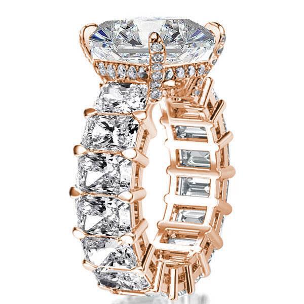 Rose Gold Radiant Eternity Engagement Ring, White