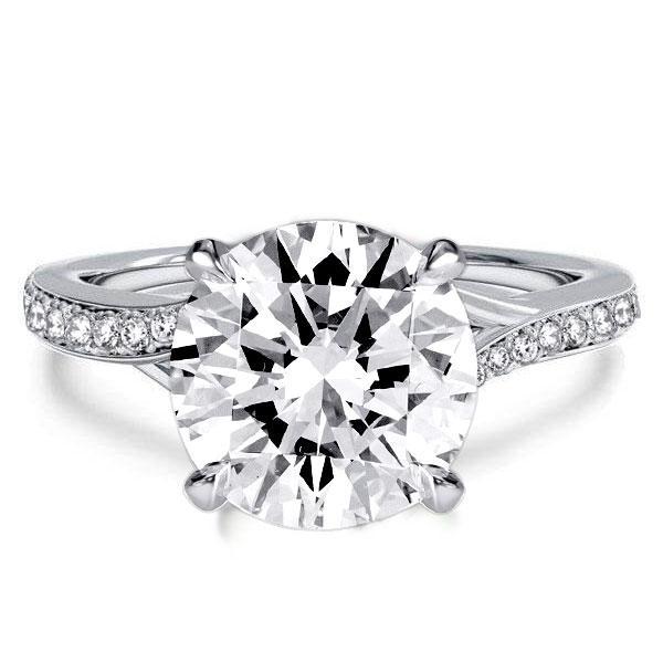 Split Shank Round Cut Engagement Ring, White