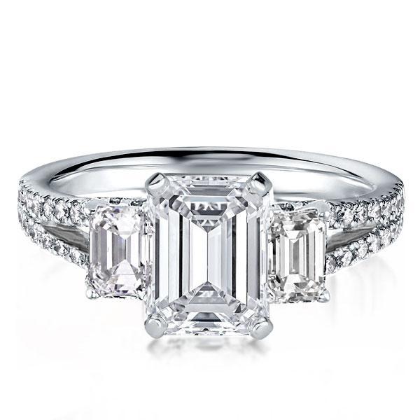 Three Stone Split Shank Emerald Engagement Ring (3.85 CT. TW.), White
