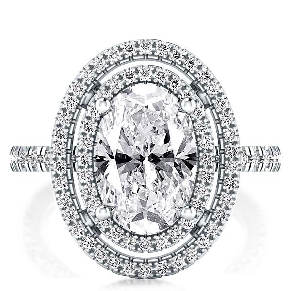 Double Halo Oval Engagement Ring (4.35 CT. TW.), White