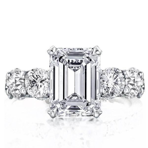 Eternity Shank Emerald Engagement Ring (6.65 CT. TW.), White