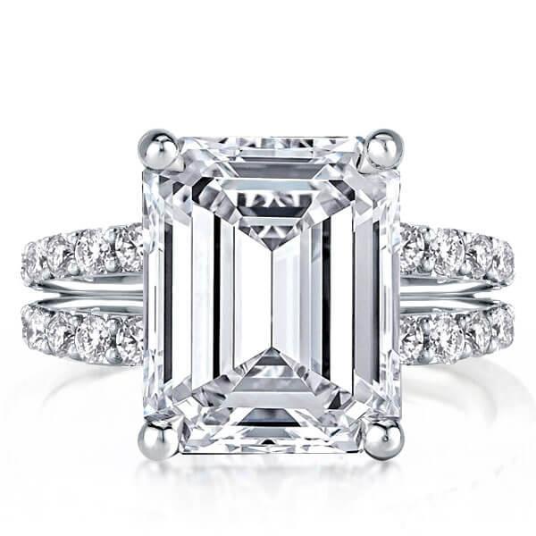 Split Shank Emerald Engagement Ring (4.42 CT. TW.), White