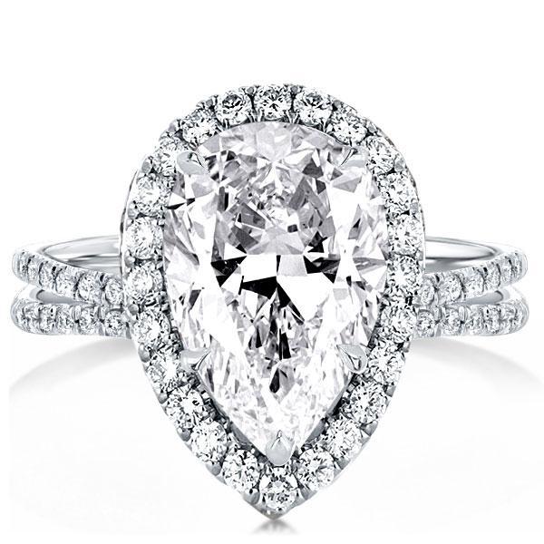 Halo Pear Cut Split Shank Engagement Ring, White
