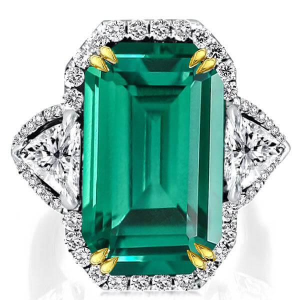 Two Tone Emerald Cut Three Stone Halo Engagement Ring, White