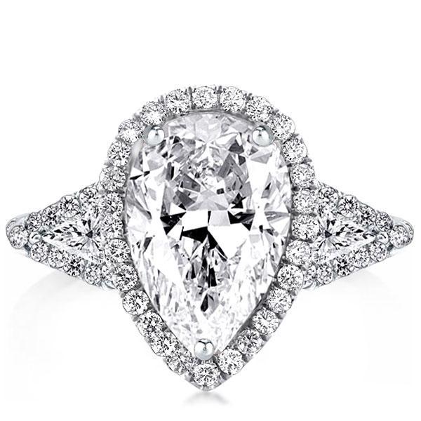 Three Stone Pear Halo Engagement Ring, White
