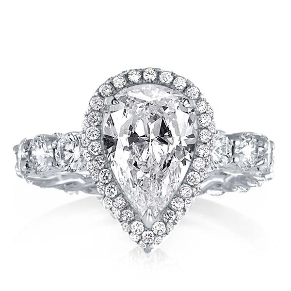 Halo Pear Cut Engagement Ring, White