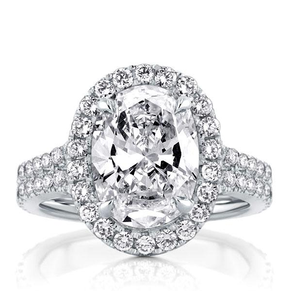 Double Row Oval Halo Silver Engagement Ring, White