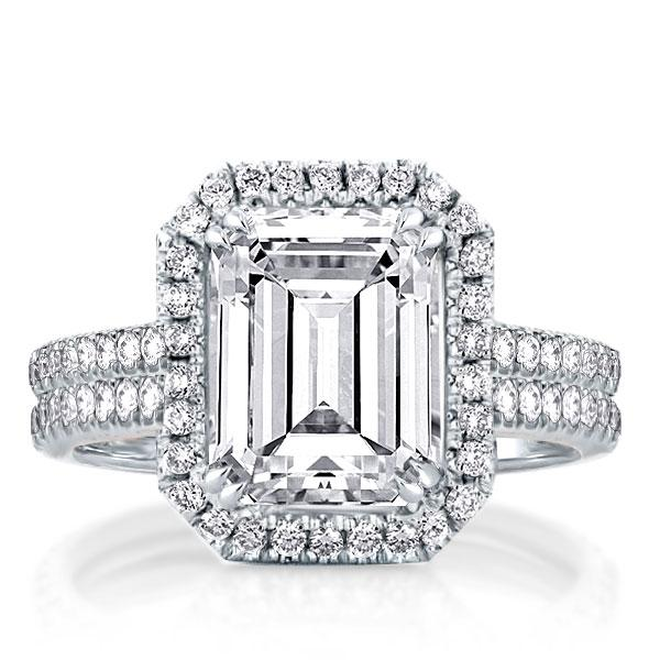 Double Row Halo Emerald Engagement Ring, White