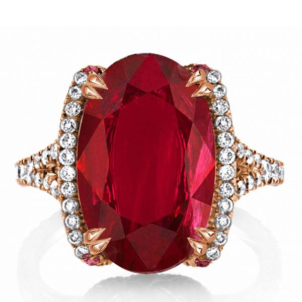 Double Prong Created Garnet Oval Cut Engagement Ring, White