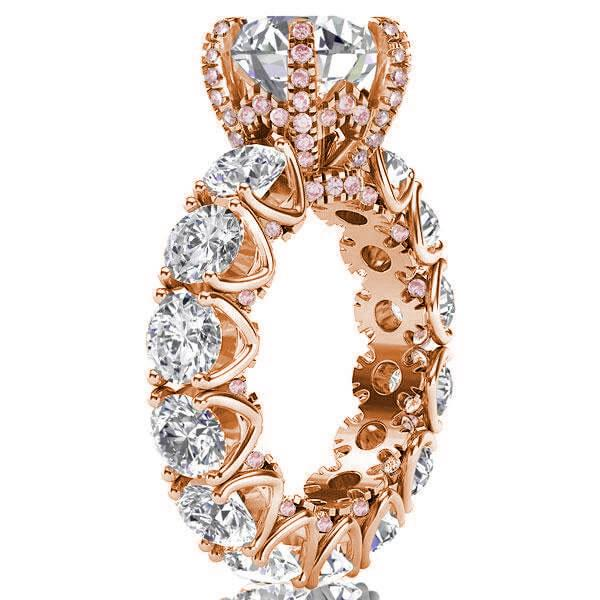 Rose Gold Eternity Round Cut Engagement Ring, White